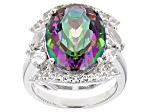 Pre-Owned Multi- Color Quartz Rhodium Over Silver Ring 8.90ctw