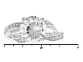 Pre-Owned White Cubic Zirconia Rhodium Over Sterling Silver Ring 4.93ctw