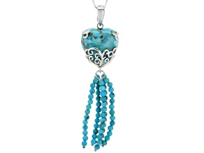 Pre-Owned Turquoise Rhodium Over Sterling Silver Tassel Pendant With Chain