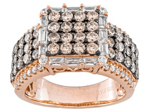 Pre-Owned Champagne And White Cubic Zirconia 18k Rose Gold Over Silver Ring 4.22ctw(2.27ctw DEW)
