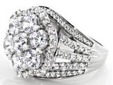 Pre-Owned White Cubic Zirconia Rhodium Over Sterling Silver Ring 8.64ctw