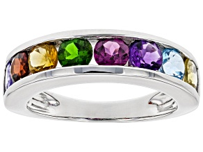 Pre-Owned Mixed-Gem Rhodium Over Sterling Silver Ring 1.81ctw