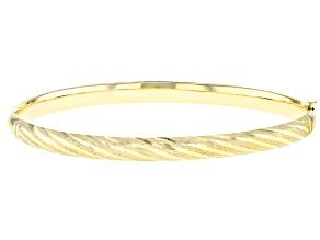 Pre-Owned 10k Yellow Gold Stripe Diamond Cut Bangle Bracelet