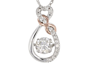 Pre-Owned Moissanite Two Tone Pendant .77ctw DEW