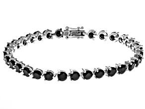 Pre-Owned Black spinel rhodium over silver tennis bracelet 13.05cftw