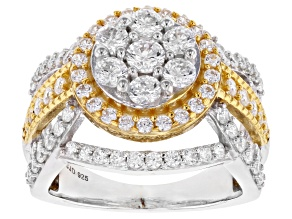Pre-Owned White Cubic Zirconia Rhodium And 18K Yellow Gold Over Sterling Silver Ring 3.88CTW