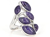 Pre-Owned Purple charoite rhodium over silver ring