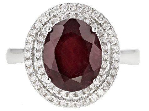 Pre-Owned Red Mahaleo® Ruby  Rhodium Over Silver Ring 4.00ctw