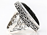 Pre-Owned Black Obsidian Silver Ring