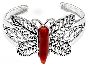 Pre-Owned Red Coral Rhodium Over Silver Butterfly Cuff