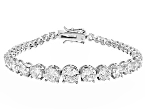Pre-Owned White Cubic Zirconia Rhodium Over Sterling Silver Bracelet 18.49ctw