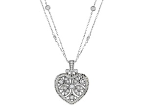 Pre-Owned White Cubic Zirconia Rhodium Over Sterling Silver Heart Pendant With Chain 2.75ctw