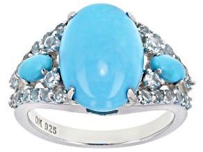 Pre-Owned Blue turquoise rhodium over silver ring .75ctw