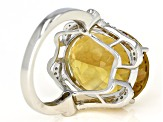 Pre-Owned Yellow Citrine Rhodium Over Silver Ring 14.60ctw