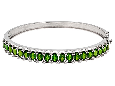 Pre-Owned Green Chrome Diopside Silver Bracelet 9.12ctw