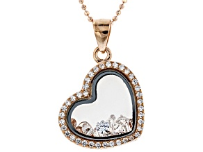 Pre-Owned White Cubic Zirconia 18K Rose Gold Over Sterling Silver Heart Pendant With Chain 0.84ctw