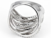 Pre-Owned White Zircon Rhodium Over Sterling Silver Multi-Row Ring 2.75ctw