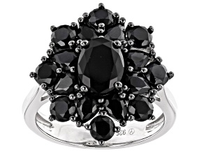 Pre-Owned Black Spinel Rhodium Over Silver Ring 4.65ctw