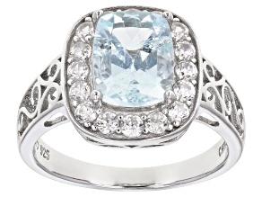 Pre-Owned Blue aquamarine rhodium over silver ring 2.51ctw