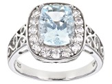 Pre-Owned Blue aquamarine rhodium over silver ring 2.51ctw