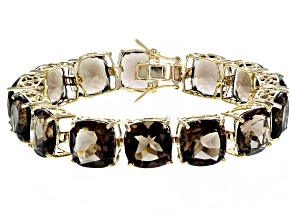 Pre-Owned Brown smoky quartz 18k yellow gold over sterling silver bracelet 85.00ctw