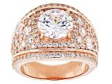 Pre-Owned White Cubic Zirconia 18k Rose Gold Over Silver Ring 8.29ctw