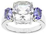 Pre-Owned White Crystal Quartz Rhodium Over Sterling Silver Ring 4.25ctw