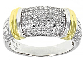 Pre-Owned White Cubic Zirconia Rhodium Over Sterling Silver Band Ring 0.80ctw