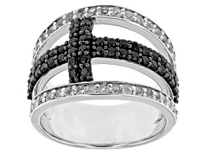 Pre-Owned Black Spinel Sterling Silver Cross Ring 1.72ctw