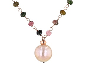 Pre-Owned 12-12.5mm Pink Cultured Freshwater Pearl & Tourmaline 18k Rose Gold Over Silver 18 Inch Ne