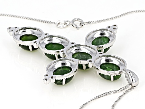 Pre-Owned Green chrome diopside silver pendant with chain