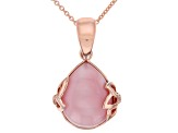 Pre-Owned Pink opal 18k rose gold over silver enhancer with chain