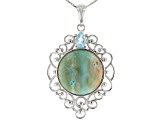 Pre-Owned Blue Indonesian Opal in Matrix Rhodium Over Silver Pendant with Chain .68ct