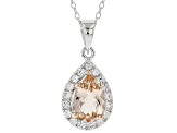 Pre-Owned Pink morganite rhodium over sterling silver pendant with chain 2.03ctw