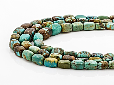 Pre-Owned Turquoise With Matrix Bead Rhodium Over Silver 3-Strand Necklace