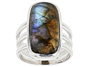 Pre-Owned  Labradorite Sterling Silver Solitaire Ring
