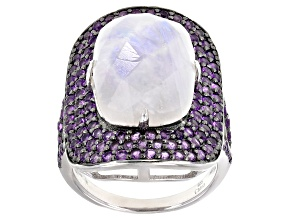 Pre-Owned White Moonstone Rhodium Over Silver Ring 11.75ctw