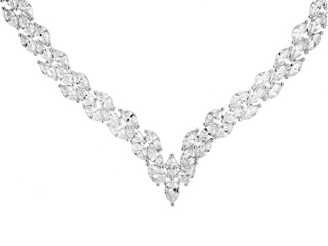Pre-Owned White Cubic Zirconia Rhodium Over Sterling Silver Necklace 68.00ctw