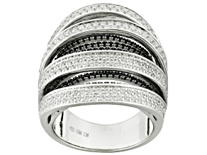 Pre-Owned White And Black Cubic Zirconia Silver Ring 4.35ctw