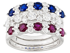Pre-Owned Blue Red And White Cubic Zirconia Rhodium Over Sterling Silver Rings 3.93ctw
