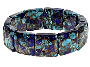 Pre-Owned Southwest Style By JTV™ Turquoise/Lapis Stretch Bracelet