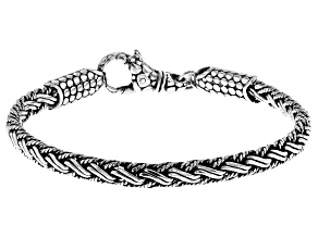 Pre-Owned Sterling Silver Woven Bali Chain Bracelet