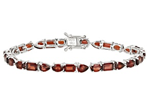 Pre-Owned Red Garnet Rhodium Over Silver Bracelet 15.00ctw