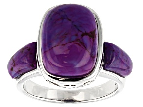 Pre-Owned Purple Turquoise rhodium over sterling silver ring