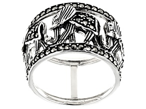 Pre-Owned Gray marcasite sterling silver ring