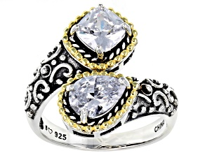 Pre-Owned White Cubic Zirconia Rhodium Over Sterling Silver Bypass Ring 3.19ctw
