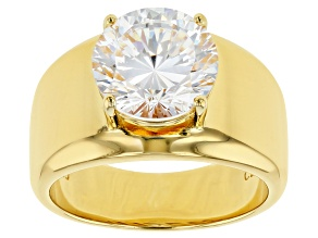 Pre-Owned White Cubic Zirconia 18K Yellow Gold Over Sterling Silver Ring 6.03ctw