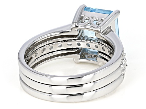 Pre-Owned Blue Topaz And White Topaz Accent Rhodium Over Silver Ring W/ White Topaz Rhodium Over Sil