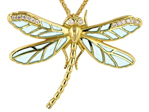 Pre-Owned 18k Yg Blue Plique A Jour Enamel/Diamond Dragonfly Pendant/Cw Sellors