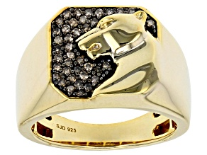 Pre-Owned Champagne Diamond 14k Yellow Gold over Sterling Silver Gents Ring .35ctw